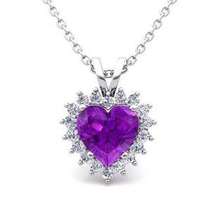White Gold 14K Amethyst With 8.75 Carats Diamonds